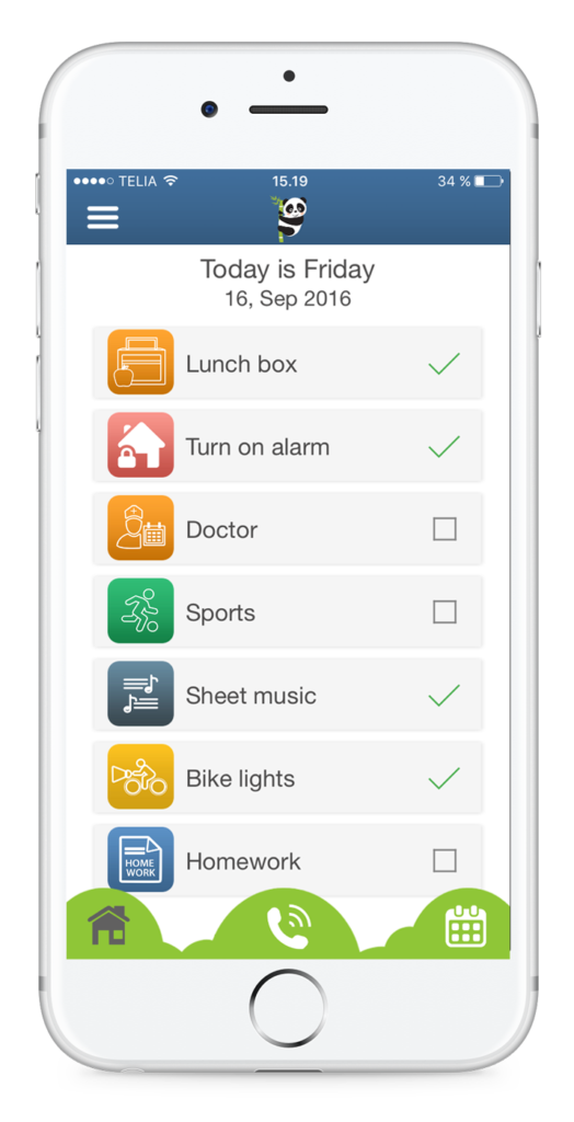 App with easy overview - reminds you of your medicine, epipen, insulin, set house alarm and many other tasks.