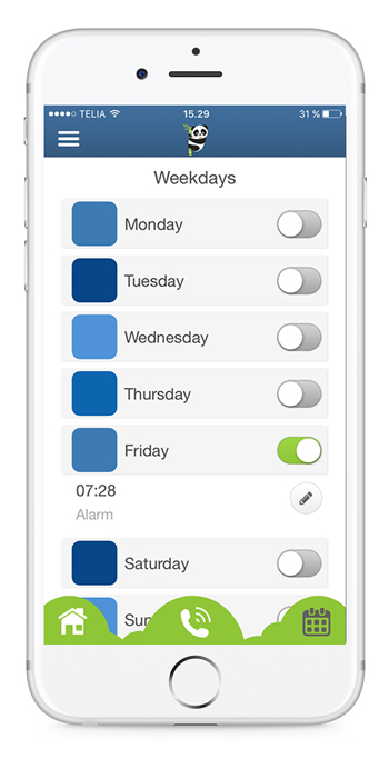 Reminder app with alarms on tasks . Enable a weekday to set morning alarm, choose ringtone and repeat weekly.